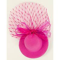 Шляпка мини Гламур с вуалью (розовая) 310817-026