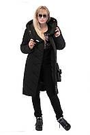 Зимнее женское пальто DAKOTA удлиненная (цвет ЧЕРНЫЙ) код: DKl06
