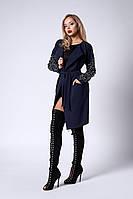 Молодежный кардиган-платье на поясе темно-синего цвета