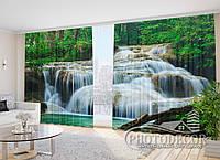 "Фото Шторы в зал ""Водопад в лесу"" 2,7м*5,0м (2 половинки по 2,5м), тесьма"