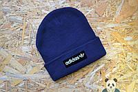 Шапка темно-синяя Adidas Beanie, зимняя шапка адидас