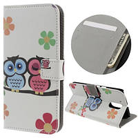 Чехол книжка PC Wallet Printing для Motorola Moto G4 G4 Plus Lovely Two Owls