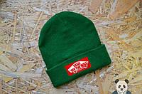 Зеленая шапка зимняя VANS, шапка мужская ванс