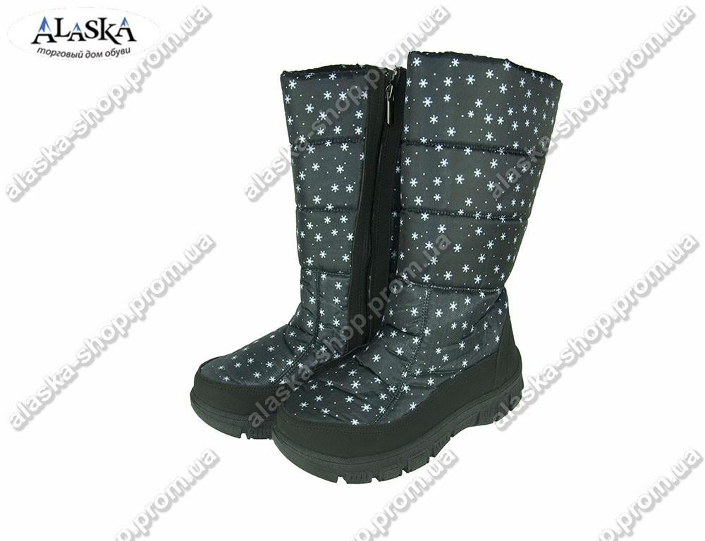 Женские сапожки (Код: 305 черная снежинка)
