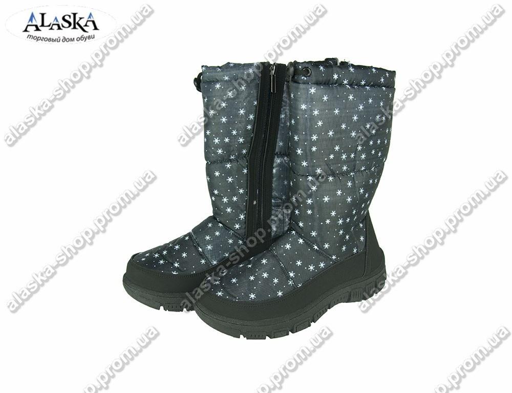 Женские сапоги (Код: 304 черные снежинка)