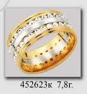 Обручальное кольцо с камнями цирконами широкое сочетание белого и красного золота