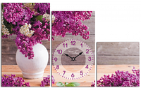 Годинник настінний на полотні Бузок 65*41см 06-412