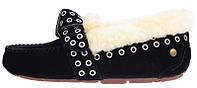 Женские зимние мокасины UGG Australia Moccasin Black (Угги Австралия) с мехом черные