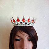 Круглая корона в серебре с красными камнями, диадема, тиара, высота 5,5 см., фото 5