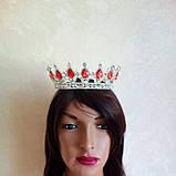 Круглая корона в серебре с красными камнями, диадема, тиара, высота 5,5 см., фото 4