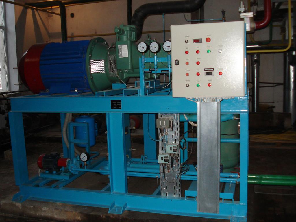 Изготовление, поставка и монтаж аммиачного винтового агрегата на базе компрессора «BITZER» mod.OSKA-8591(Германия) мощностью 430 кВт.