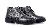 Ботинки женские кожаные на молнии и шнурках никель