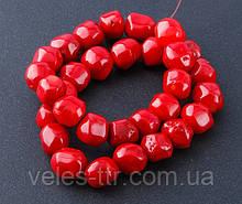 Бусы на леске Коралл красный шарик галтовка 10х12 мм нить 40 см
