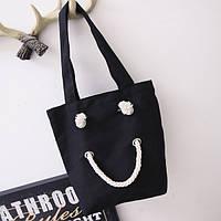 Черная тканевая сумка шоппер
