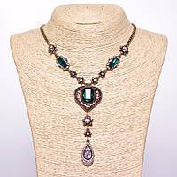 """Колье на цепочке с зелеными кристаллами L-45-50см цвет металла """"золото"""""""
