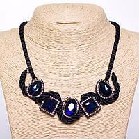 Колье на цепочке с синими кристаллами L-50см цвет металла черный