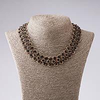 """Ожерелье """"Стальные цветы"""" с синими кристаллами L-45см цвет металла """"старинное золото"""""""