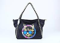 Женская сумка с котом и заклепками