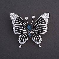 """Брошь """"Бабочка"""" с синим кристаллом черная эмаль 4х3см цвет металла """"серебро"""""""