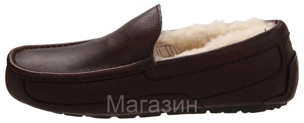 Зимние мужские мокасины UGG Australia Ascot Leather Brown кожаные оригинальные угги с мехом коричневые
