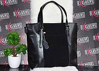 Женская кожаная сумка + замшевая вставка.