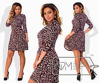 """Комфортное женское платье с модной расцветкой """" плотный Хлопок+стрейч"""" 50, 54 размер батал"""
