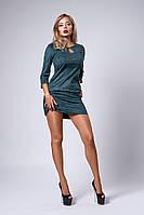 Красивое замшевое платье с карманами, бутылочное