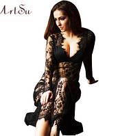 Пеньюар платье из кружева черный для фотосессий, фотосессий беременных