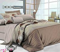 Семейное постельное белье с простыню на резинке 180*200*34 - Пралине, сатин 100% хлопок