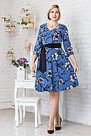 Платье женское цветочный рисунок с пояском р.48-54 V304-01