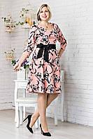 Платье женское цветочный рисунок с пояском р.48-54 V304-02