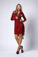 Женское платье-рубашка в клетку, красная