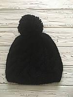 Вязаная зимняя мужская шерстяная шапка с помпоном