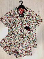 Женский комплект рубашка с шортами из хлопка