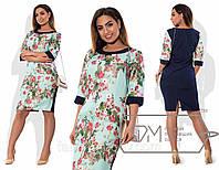 """Комбинированное женское платье ткань """"100% коттон"""" 46, 48 размер норма"""