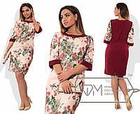 """Комбинированное женское платье ткань """"100% коттон"""" бордо 46, 48 размер норма"""
