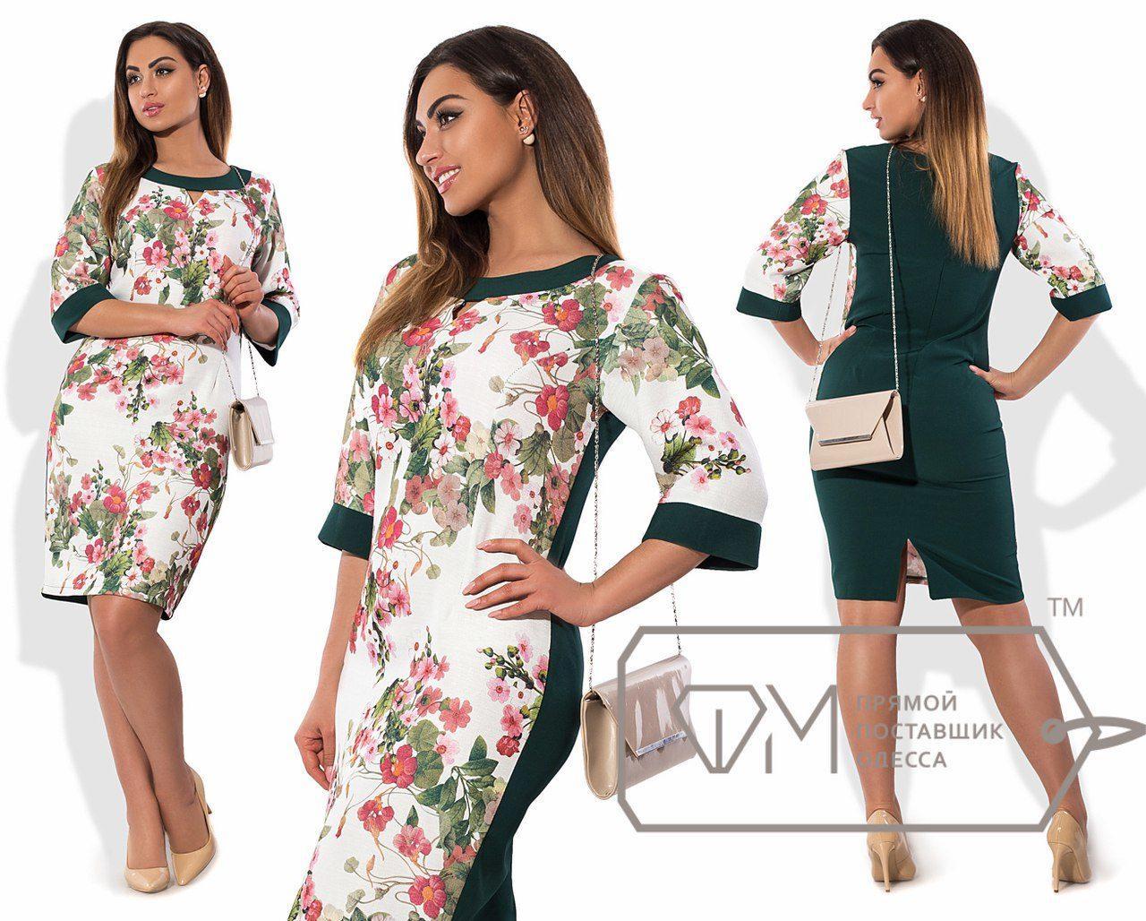 """Комбинированное женское платье ткань """"100% коттон"""" темно-зеленый 46 размер норма"""