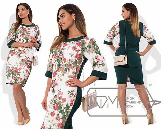 """Комбинированное женское платье ткань """"100% коттон"""" темно-зеленый 46 размер норма, фото 2"""