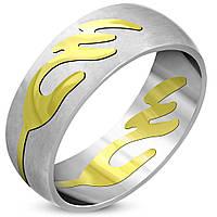 Кольцо со вставкой золотого цвета