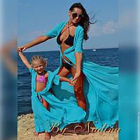 Пляжные халаты мать и дочь