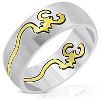 Кольцо со вставкой скорпион золотого цвета 316