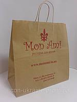 Бумажные пакеты с ПЕЧАТЬЮ 330*160*340 мм коричневый с ручкой., фото 1