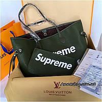 Сумка Луи Витон Louis Vuitton Neverfull Supreme цвет Emerald, копия