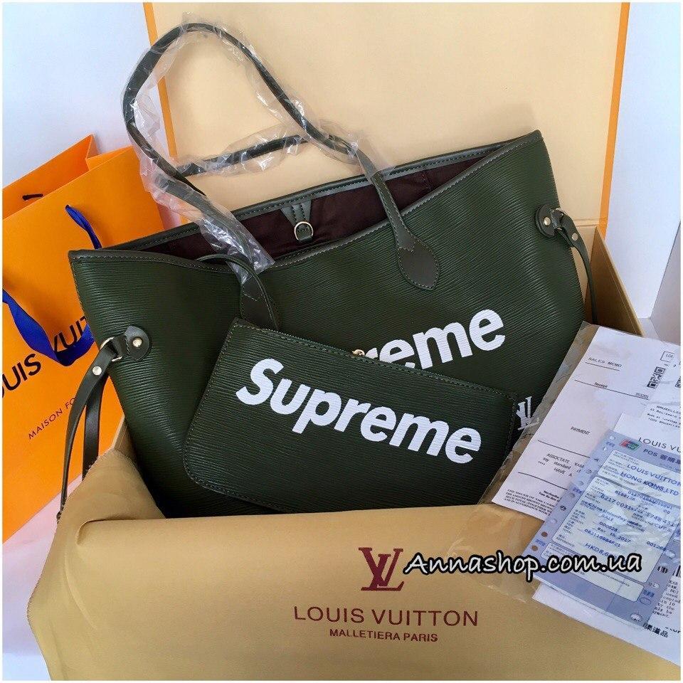 Сумка Луи Витон Louis Vuitton Neverfull Supreme цвет Emerald -  Annashop.com.ua в cdf2ee1d94d