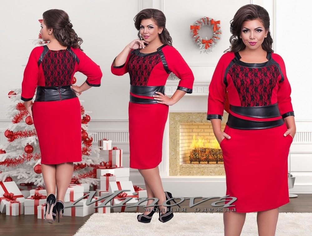 """Элегантное женское платье со вставками из эко кожи ткань """"Хлопок+стрейч""""  48, 52 размер батал"""