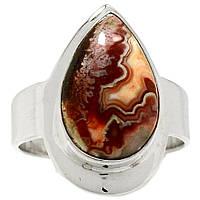 Агат Мексиканская лагуна, серебро 925, кольцо, 857КЦА