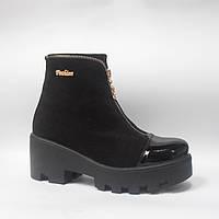 Ботинки (36; 37) YDGbellini 7106.2 женские осенние из замши, черные ботильоны на каблуке и платформе