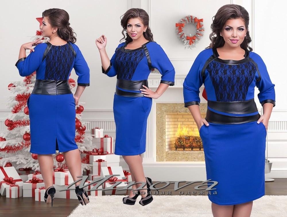 """Элегантное женское платье со вставками из эко кожи ткань """"Хлопок+стрейч"""" синий  48 размер норма"""