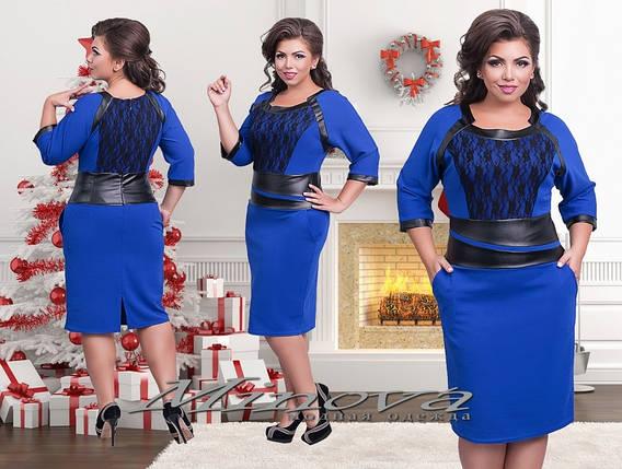 """Элегантное женское платье со вставками из эко кожи ткань """"Хлопок+стрейч"""" синий  48 размер норма, фото 2"""