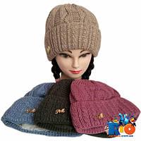 Детская вязаная шапочка, для девочки р-р 52-54